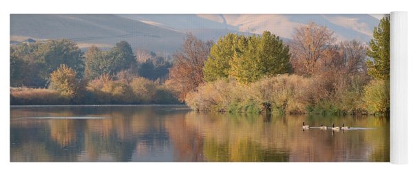 Peaceful Autumn River Reflection Yoga Mat