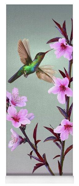 Peach Blossoms And Hummingbird Yoga Mat