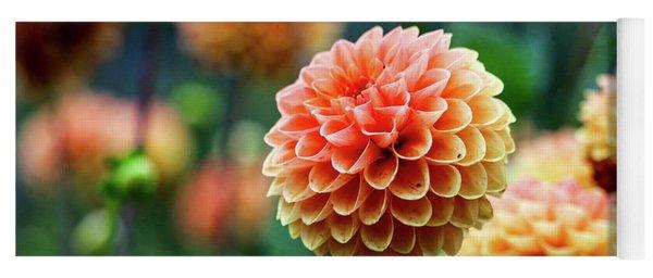 Peach Dahlias Yoga Mat