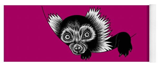 Peeking Lemur - Ink Illustration Yoga Mat