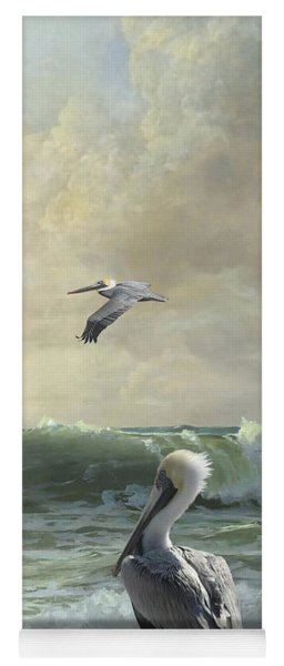 Pelicans In The Surf Yoga Mat