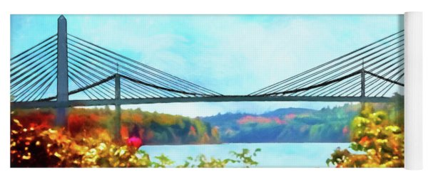 Penobscot Narrows Bridge In Autumn Yoga Mat