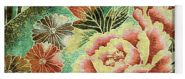 Yoga Mat featuring the tapestry - textile Peony Garden - Kimono Series by Susan Maxwell Schmidt