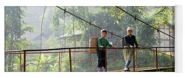 People And Children From Sapa, Mountainous Area Of Northern Vietnam In Their Daily Life. Yoga Mat