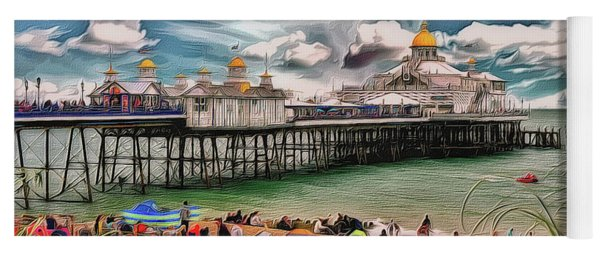 Yoga Mat featuring the photograph People And The Pier by Leigh Kemp