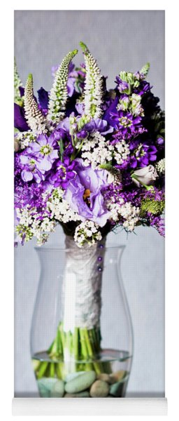 Perfect Bridal Bouquet For Colorful Wedding Day With Natural Flowers. Yoga Mat
