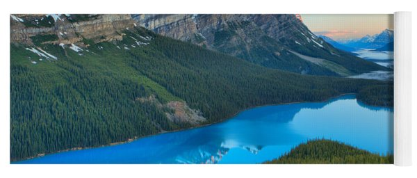Peyto Lake Red Sunrise Peaks Yoga Mat