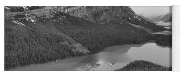 Peyto Lake Red Sunrise Peaks Black And White Yoga Mat
