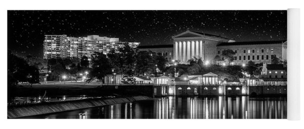 Yoga Mat featuring the photograph Philadelphia Art Museum Under The Stars In Black And White by Bill Cannon