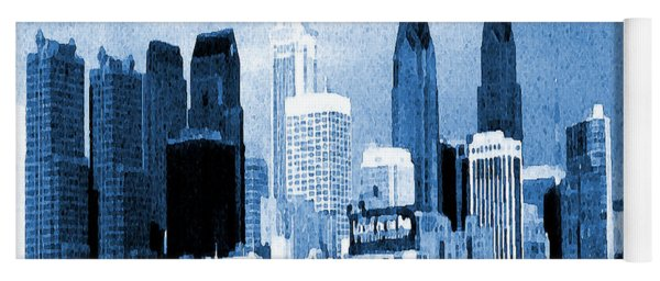 Philadelphia Blue - Watercolor Painting Yoga Mat