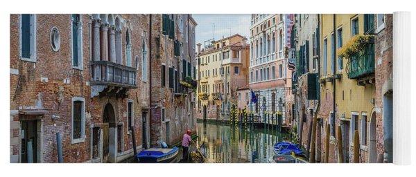 Gondolier On Canal Venice Italy Yoga Mat