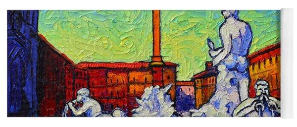 Piazza Navona Rome Italy Modern Impressionist Textural Impasto Knife Oil Painting Ana Maria Edulescu Yoga Mat