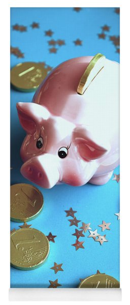 Piggy Bank On The Background With The  Chocoladen Coins Yoga Mat