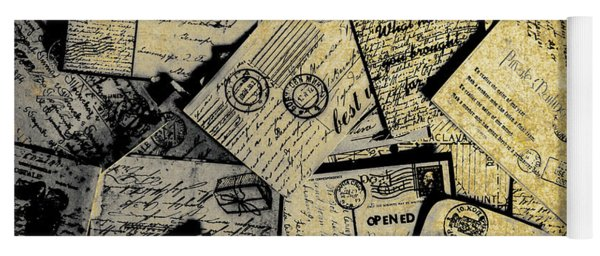 Piled Paper Postcards Yoga Mat