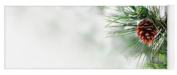 Pine Branch Under Snow Yoga Mat