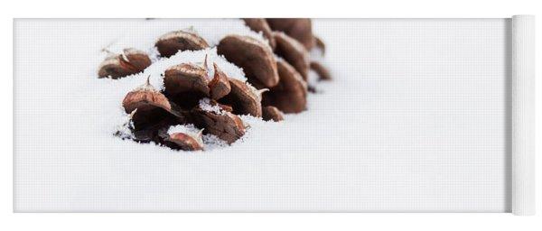 Pine Cone In Snow Yoga Mat