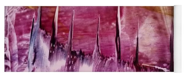 Pink Abstract Castles Yoga Mat