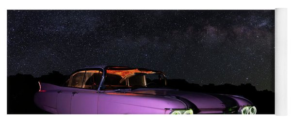 Pink Cadillac In The Desert Under The Milky Way Yoga Mat