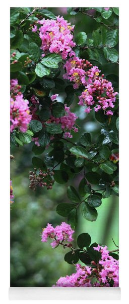 Yoga Mat featuring the photograph Pink Crape Myrtle Tree by Trina Ansel