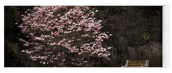 Pink Dogwood Tree And A Bench Yoga Mat