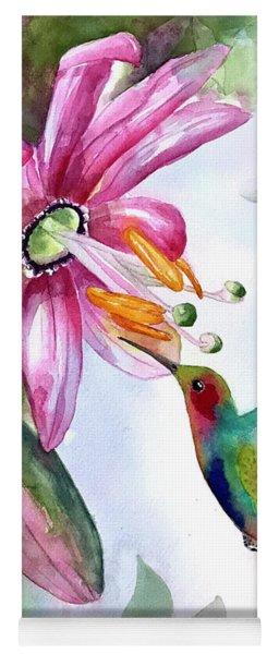 Pink Flower For Hummingbird Yoga Mat