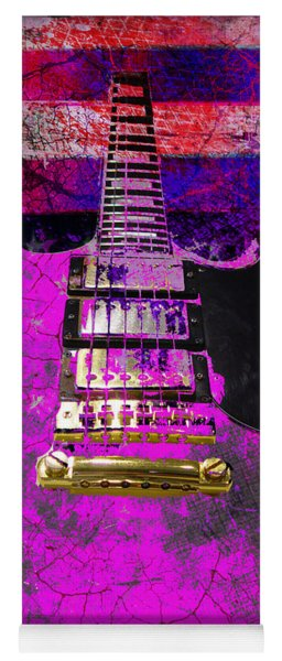 Pink Guitar Against American Flag Yoga Mat