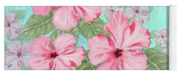Pink Hibiscus Print On Aqua Yoga Mat