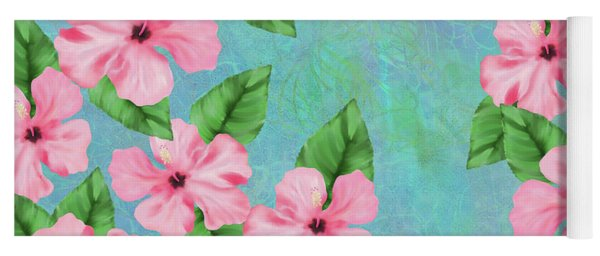 Pink Hibiscus Tropical Floral Print Yoga Mat