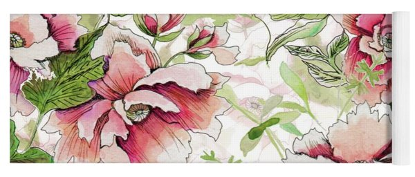 Pink Peony Blossoms Yoga Mat