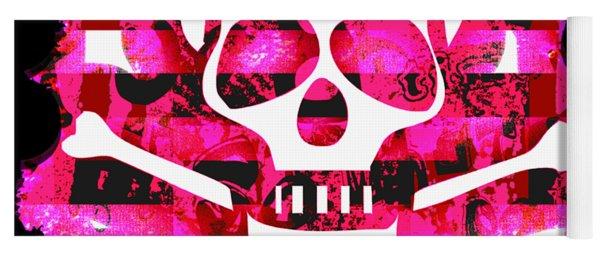 Pink Skull Crossbones Graphic Yoga Mat