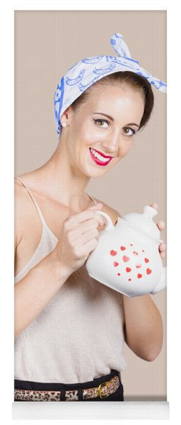 Pinup Girl Pouring Cafe Coffee Yoga Mat