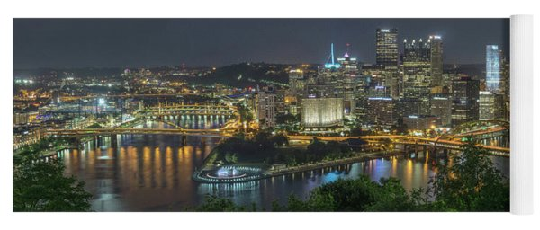 Yoga Mat featuring the photograph Pittsburgh Lights by David R Robinson