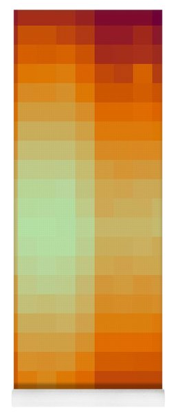 Yoga Mat featuring the digital art Pixelated Tropical Sunset by Rachel Hannah