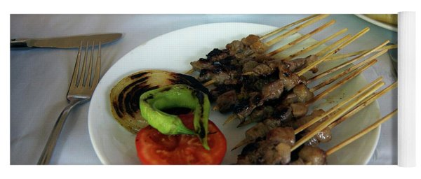 Plate Of Kebabs And Salad For Lunch Yoga Mat