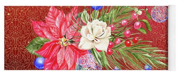 Poinsettia With Blue Ornaments  Yoga Mat