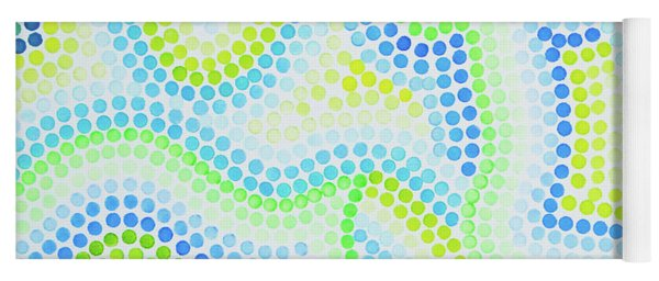 Pointillism - Blue And Green Curves Yoga Mat
