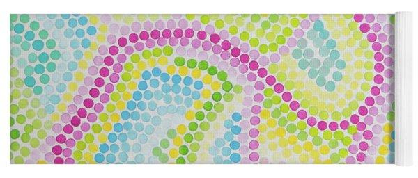 Pointillism - Palm Beach Pink And Green Yoga Mat