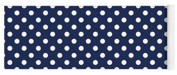 Polka Dot White On Navy Yoga Mat