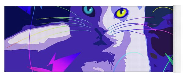 Pop Cat Blue Yoga Mat