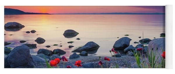 Poppies By The Sea Yoga Mat