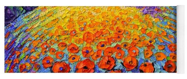 Poppies Roundscape Fairy Night Textural Impressionist Impasto Knife Oil Painting Ana Maria Edulescu Yoga Mat