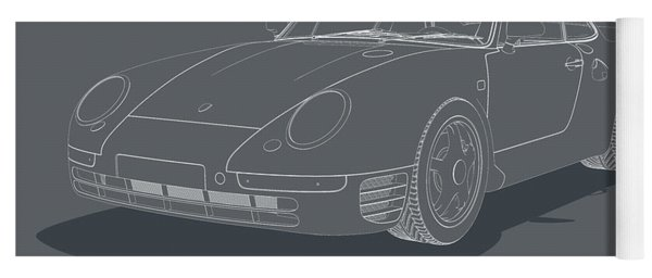 Porsche 959 - White Blueprint On Grey Yoga Mat