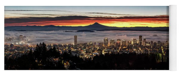 Portland Foggy Sunrise Yoga Mat