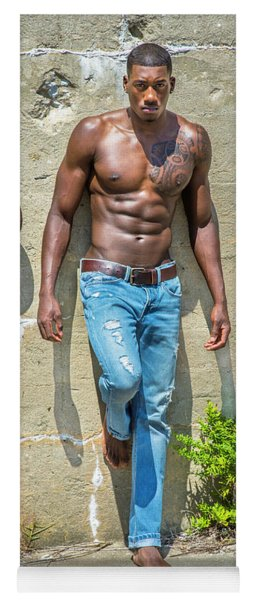 Portrait Of  Young Black Fitness Guy Yoga Mat