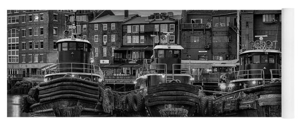 Portsmouth Tugboats At Dawnt In Black And White Yoga Mat
