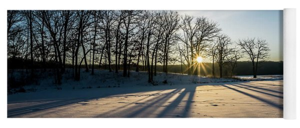 Pretty Winter Sun Rise Scene Yoga Mat
