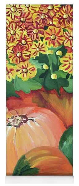 Pumpkin With Flowers Yoga Mat