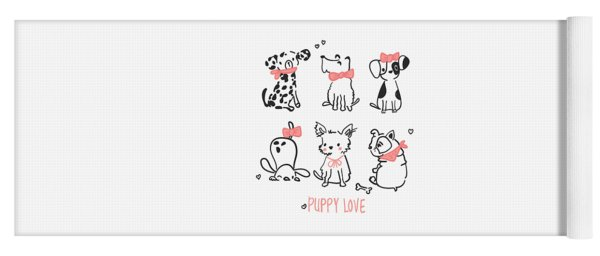Puppy Love - Baby Room Nursery Art Poster Print Yoga Mat