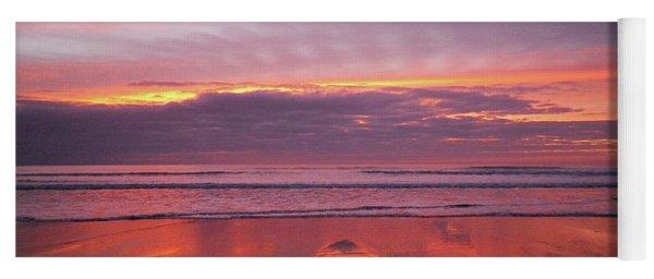 Purple And Gold Sunset Sandymouth Cornwall Yoga Mat