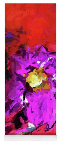 Purple And Yellow Flower And The Red Wall Yoga Mat